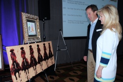 Rich and Julie Wham check out the Duke Beardsley pairing for the live auction which went to an anonymous bidder for a record $13,250