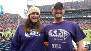 Tom and Jenny Hindorff show their support for the Alzheimer's cause at Sunday's Bronco game.